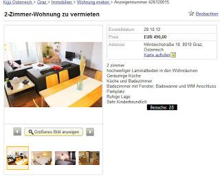 2 zimmer wohnung zu vermieten hilmteichstra e 18 8010 graz vorkassebetrug fraud scam. Black Bedroom Furniture Sets. Home Design Ideas